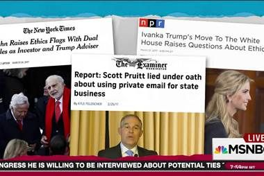 Rachel Maddow reviews a list of less reported but no less outrageous current Trump administration scandals and notes that beyond the big Trump Russia scandal, Americans have to retain their ability to be shocked by corruption if the U.S. is to remain a... http://www.msnbc.com/rachel-maddow-show