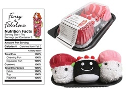 $17.50 - A traditional #toy with #Asian flair! Fun collection of plush #sushi #toys pups can chew. Each #toy has its own squeaker inside.  Available at Sugar Chic Couture:  #PETS #doglovers #shop #dogs #gifts #dogtoys #puppies #paw #cute #Japanese #food