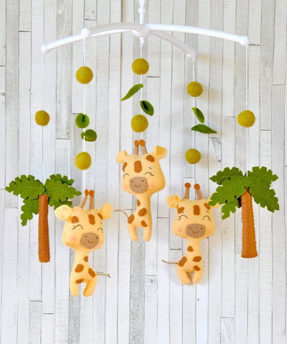 Baby mobile Safari Giraffe mobile Tropical animals mobile Safari nursery decor Safari baby shower gift Crib hanging mobile 100% wool felt
