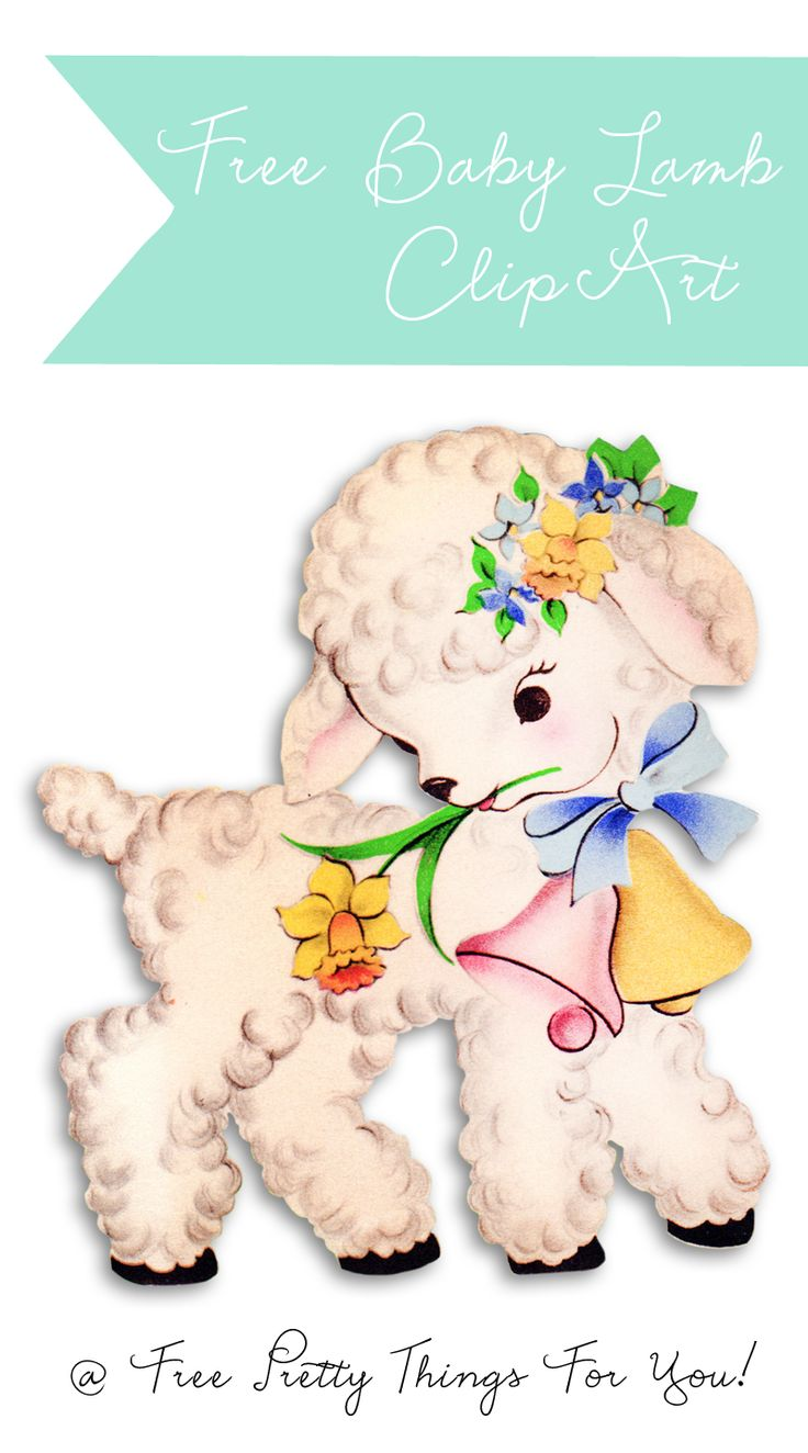 Free Vintage Baby Lamb Easter Clipart @Free Pretty Things ... Easter Clip Art Free Retro