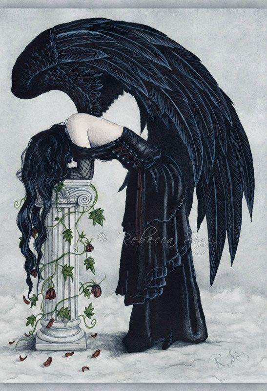 Despair 13x19 Print Angel Gothic Sad Emotion by elvenstarart, $29.95