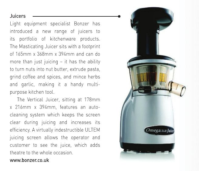 Omega Vertical Juicer as featured in OOH magazine. OOH, August '13
