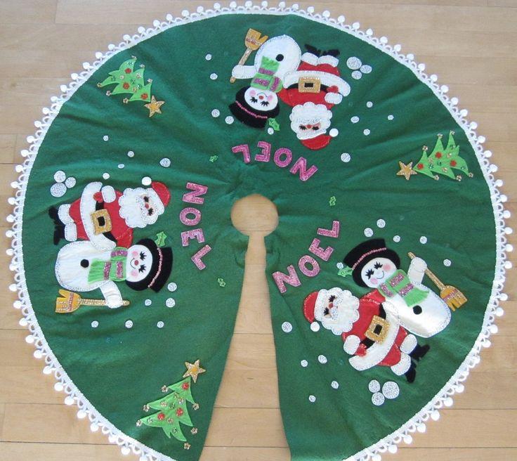 Vintage Christmas Felt Tree Skirt