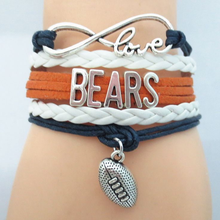 Infinity Love Chicago Bears Football Bracelet