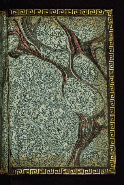 Book of Hours (Use of Rome), Marbled paper, Walters Manuscript W.183, Lower board inside