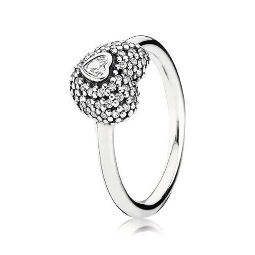 #Pandora #Silver Cubic Zirconia Pave #Heart #Ring £50.00