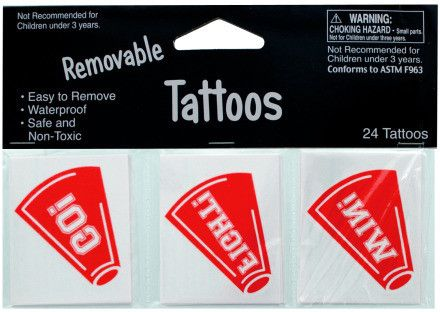 Removable Red Cheer Tattoos Case Pack 24