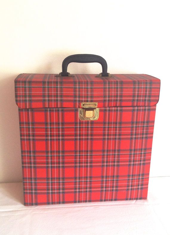 Tartan Vinyl Record Storage Record Case LP Storage Retro Mid Century Gift for Boyfriend Europe