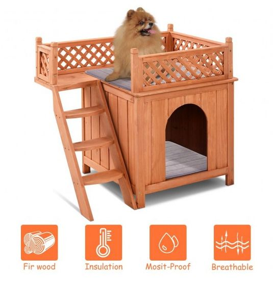 Puppy Pet Dog House Perfect For Small Pets Brown Balcony With A