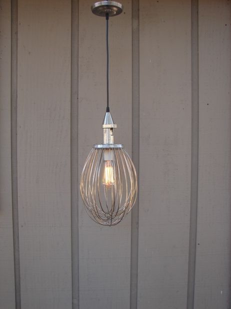 Industrial Pendant Light Upcycled Whisk. Unique lighting for your home.