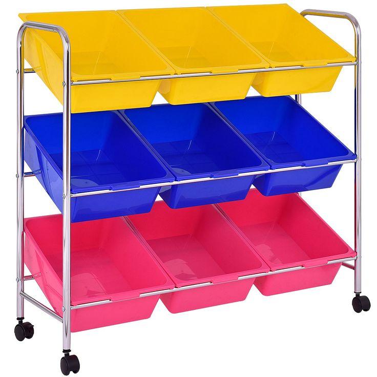 Giantex Toy Bin Cart Rack Organizer Kids Childrens Storage Box Playroom Bedroom Shelf