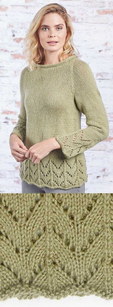 Fluted Lace Pullover Free Knitting Pattern Download