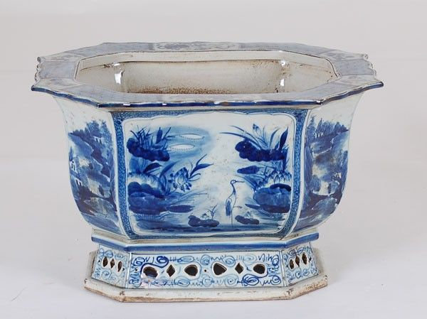 Blue and White Rectangular Flower Pot from The Well Appointed House