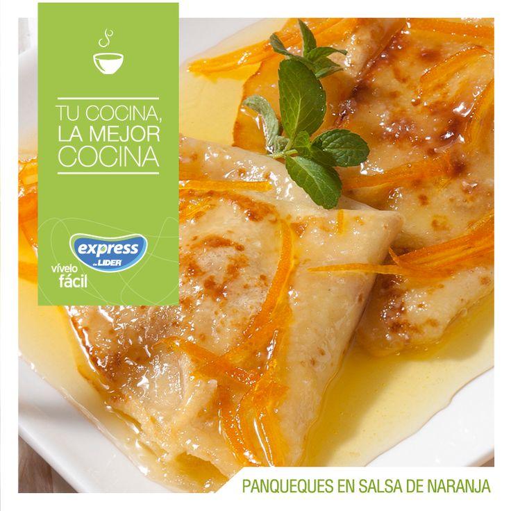 Panqueques en salsa de naranja / #RecetarioExpess #Expressdelider #Receta #Postre #Panqueques #Naranja