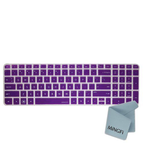 MiNGFi Silicone Keyboard Cover Protector Skin for HP Pavilion New DV6 G6 With Number Key US Keyboard Layout - Translucent Purple