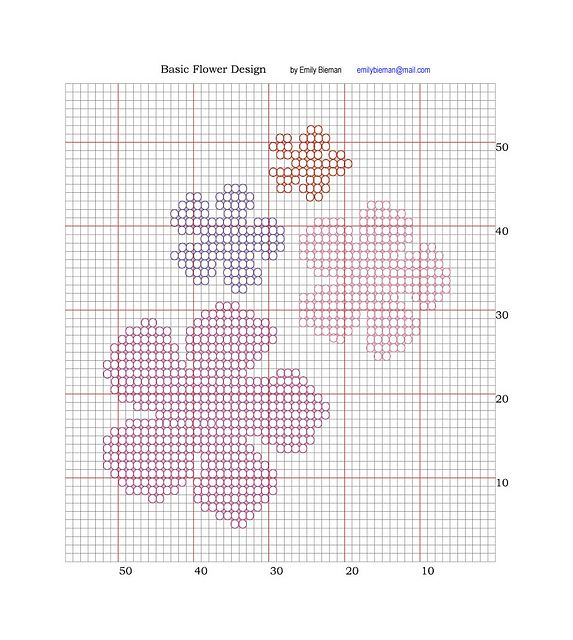 Design Knitting Pattern Graph : Basic Flower Design Chart for Intarsia pattern by Emily Bieman Knit pattern...