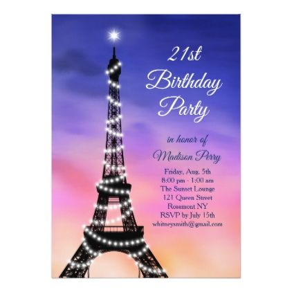 Sparkling Eiffel Tower Sunset 21st Birthday Invite - invitations custom unique diy personalize occasions