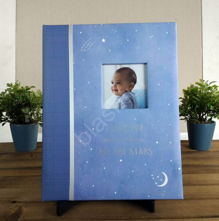 NEW Carters Blue Wish Upon A Star Baby Gender Neutral Memory Keepsake Book Moon #Carters