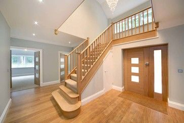 Oak Glass Stair Hallway Design Ideas, Hallway Photos, and Hallway Decor