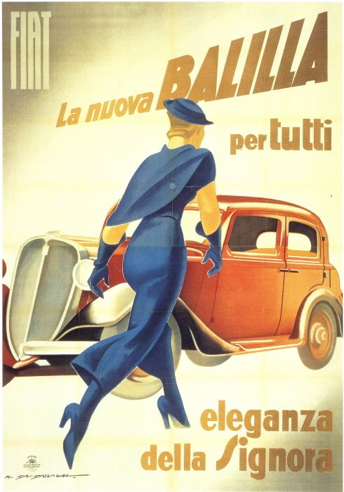 "Marcello Dudovich, Fiat Balilla ad, 1934    La nuova Balilla per tutti, poster. Colour lithograph. Italian, 1934.  Fiat archives.    Scanned from ""Art Deco 1910-1939"" edited by Charlotte Benton, Tim Benton and Chislaine Wood."