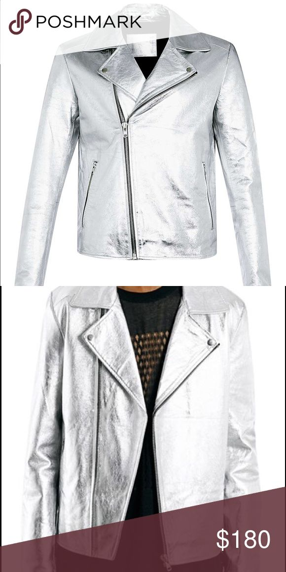 AAA TOPMAN silver Moro jacket genuine leather Top quality. Genuine leather metallic silver Moto jacket. Topman Jackets & Coats