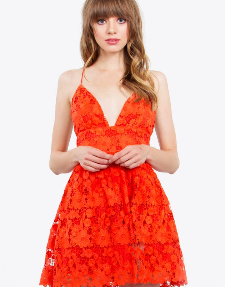 – Crochet lace mini dress – Plunging neck line – Side invisible zipper – Fully lined – Criss cross back – Color: Red  Size + Fit – Model is wearing size S – Measurements taken from size S – Length: 30″ – Waist: 28″