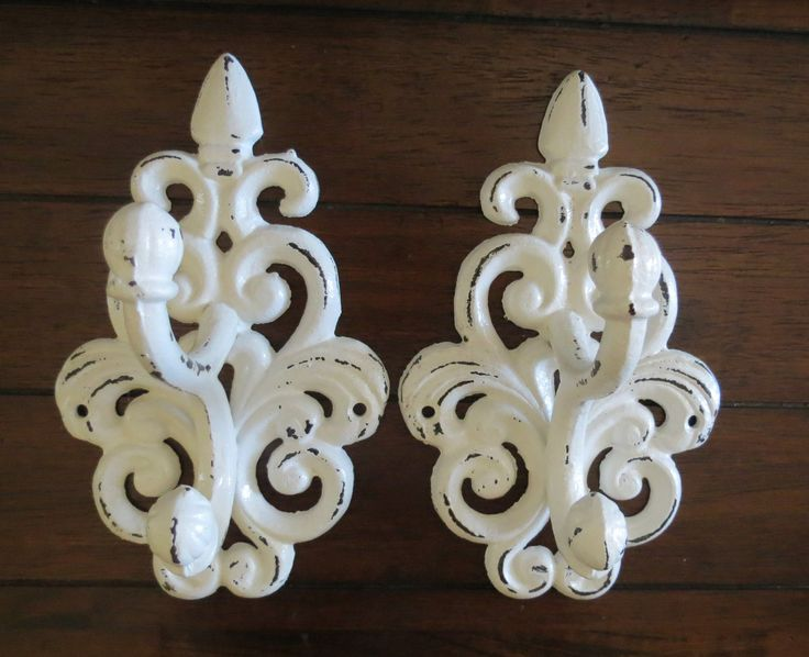 Hook Set/ Bath hook rack/ Coat or Towel Hook/ Shabby Chic antique white coat hook/ Nursery Hook/ French Country Coat Rack/Pair of Hooks. $36.99, via Etsy.