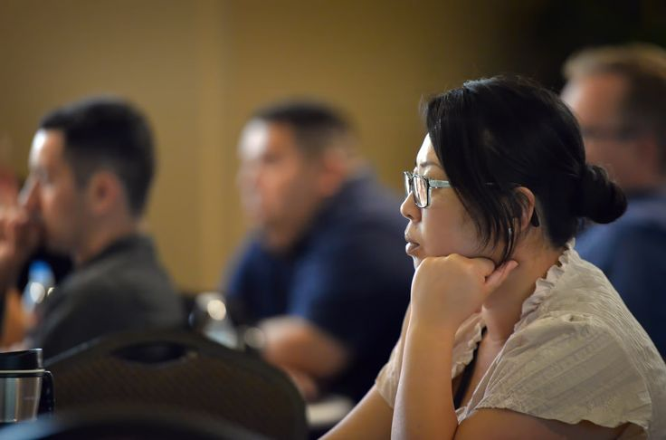 Tuong Van Vu, a CERT volunteer for Garden Grove Police & Fire, attends an autism awareness training class at the Courtyard Center in Garden Grove. Photo by Steven Georges/Behind the Badge OC