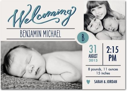 Cute Boy Photo Birth Announcements with siblings