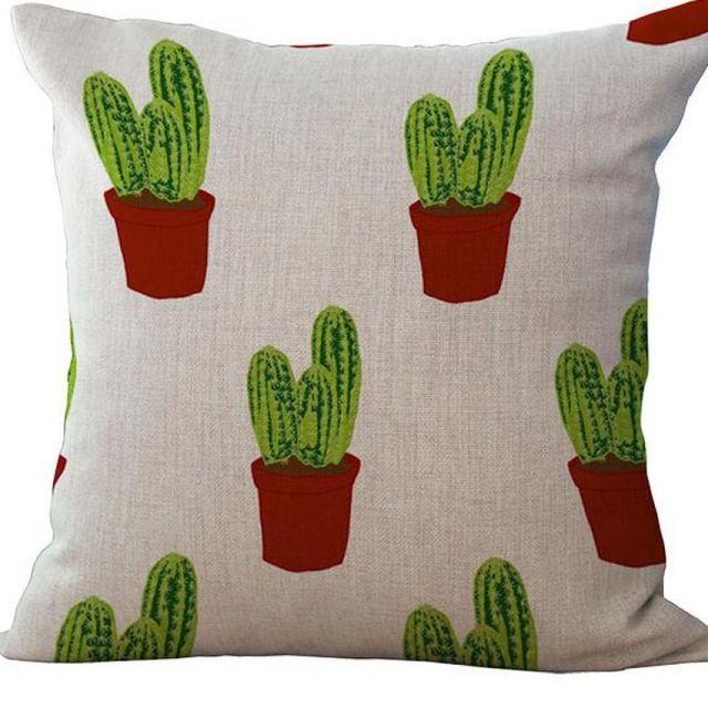 Fabrik-Versorgungsmaterial Tropical kleine Blumenerde Kaktus Leinen gedruckt Sofa Home Dekorative Kissen Auto Taille Kostenloser Versand