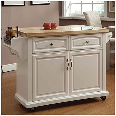 white curved door kitchen cart with granite insert at big