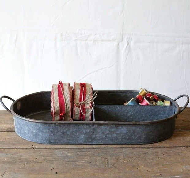 Decorative Metal Tray With Dividers | Metal Serving Tray | Oval Tray