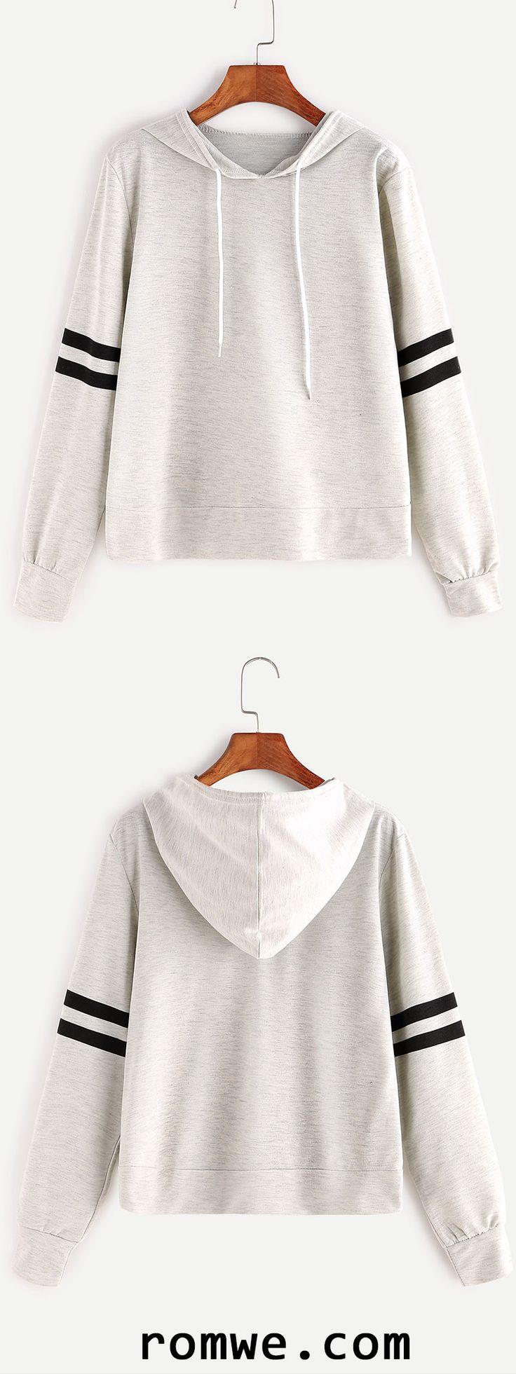 Heather Grey Varsity Striped Drawstring Hooded Sweatshirt