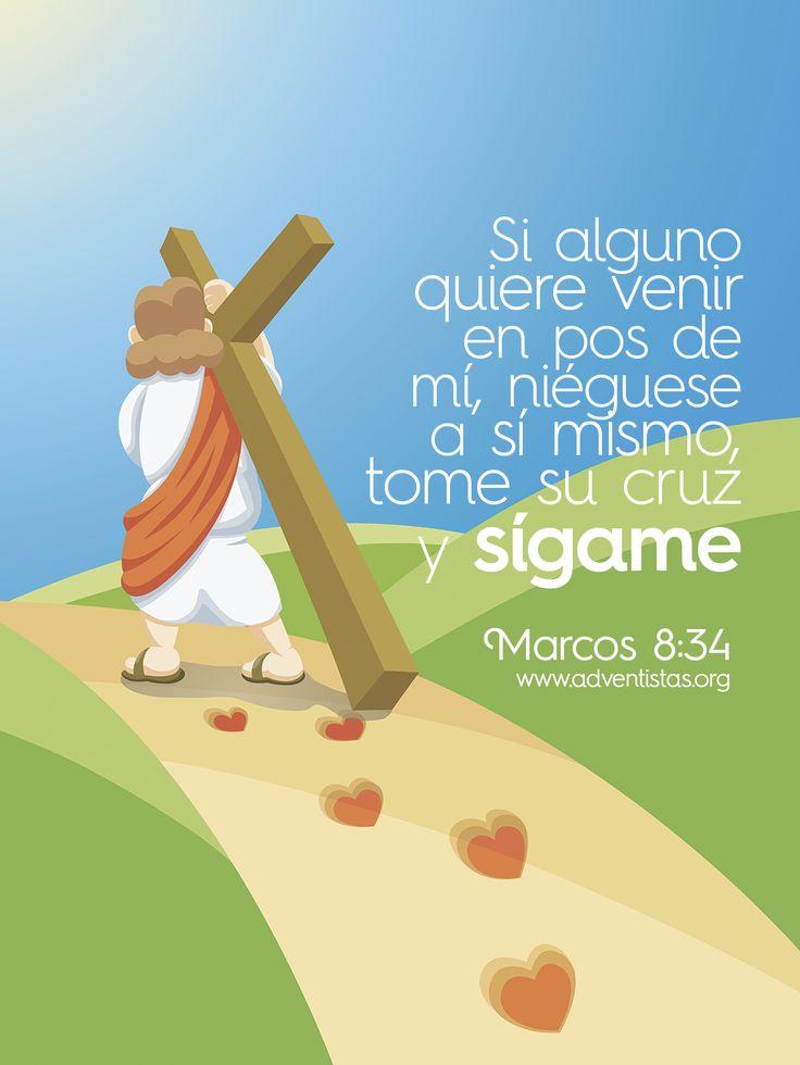 Marcos 8:34 Y llamando a la gente y a sus discípulos, les dijo: Si alguno quiere venir en pos de mí, niéguese a sí mismo, y tome su cruz, y sígame.♔