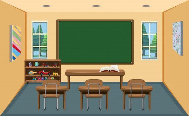 An Interior Empty Classroom Premium Vector Freepik Vector Background School Books Education In 2020 Classroom Interior Owl Theme Classroom Modern Classroom