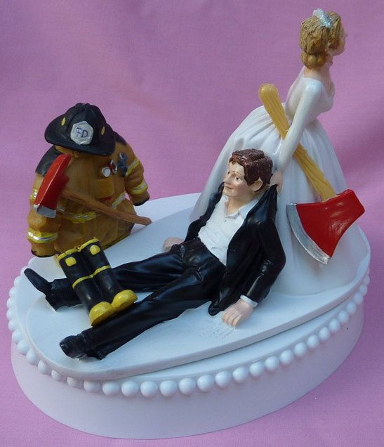 Wedding Cake Topper Fireman Firefighter Groom Themed w/ Garter & Display Box