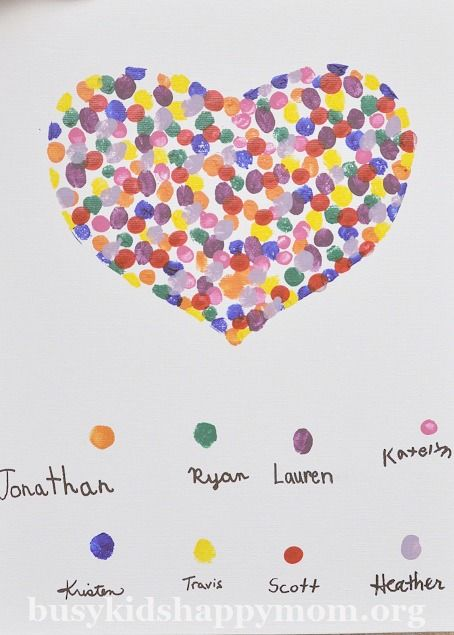 Awesome handmade teacher gift idea: Fingerprint art from the class where each kid gets a different color.