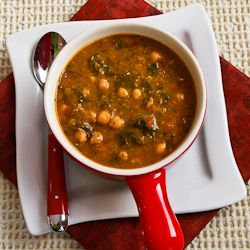 Kalyn's Kitchen: Chickpea (Garbanzo Bean) Soup Recipe with Spinach, Tomatoes, and Basil