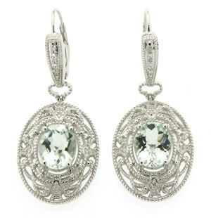 Get her what she really wants for Valentine's Day - prasiolite stone and diamond sterling silver earrings. Inspired by the design from a decorative window grate from RMS Titanic.These gorgeous drop earrings are very unique and classically stylish. #Titanic #Valentine