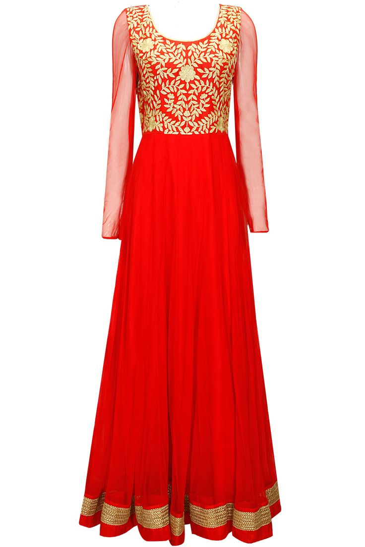 Red floral embroidered anarkali with boond work dupatta available only at Pernia's Pop-Up Shop.