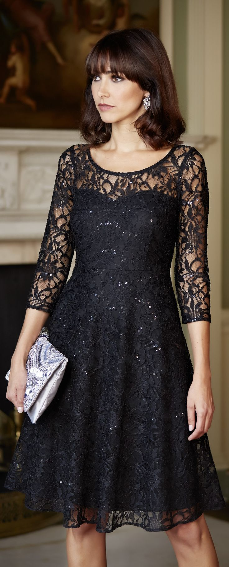 Little black dress perfect for a fall wedding. Easy to match. Lace short dress.  http://www.boomerinas.com/2013/04/14/what-to-wear-for-cruise-dinners-formal-nights/