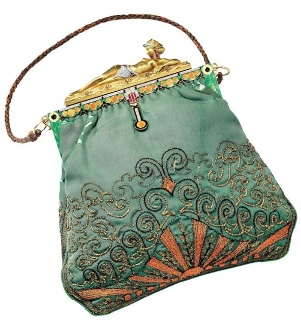 Antique purse - Love the Egyptiian inspired clasp and beautiful turquoise and salmon colors.