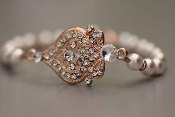 Gold Kristall Braut Ohrringe, Art-Deco-Perle Tropfen Ohrringe, Gold Hochzeitsschmuck, Brautschmuck, LUCY G