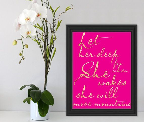 Let her sleep.. Gold Hot Pink Wall Art Quote Printable by Suselis