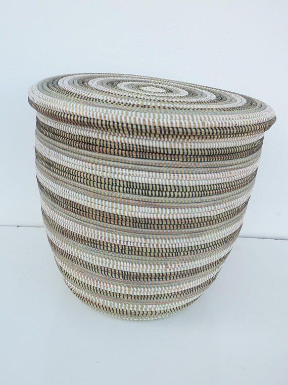 Brand New Modern Laundry Basket Hamper With Flat Lid Stripes