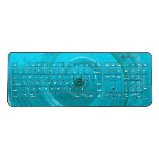 Turquoise  Wireless Keyboard by www.zazzle.com/htgraphicdesigner* #zazzle #gift #giftidea #turquoise #seashell #summer #keyboard #computer #laptop