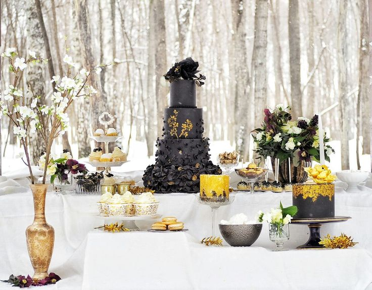 Black with gold ruffled wedding cake and dessert table by Katia Kim on satinice.com!