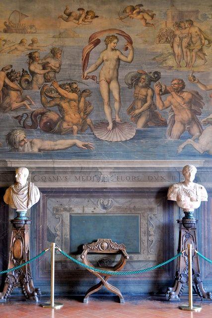 """sashastergiou: """" Giorgio Vasaris Birth of Venus (1555)–representing the element of water–in the Sala degli Elementi, Palazzo Vecchio, Florence. Palazzo Vecchio by VT_Professor on Flickr """""""
