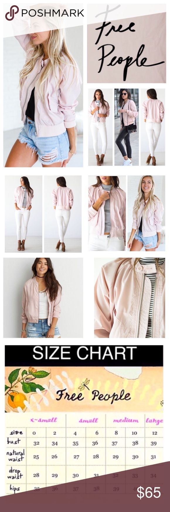 """Free People Pink Lightweight Bomber Jacket.  NWT. Free People Pink Lightweight Bomber Jacket, 100% polyester, machine washable, 23"""" armpit to armpit (46"""" all around), 19.5"""" arm inseam, 23"""" length, exposed side pocket details, button closure at neck, stretchy band at the waist and sleeve cuffs for an easy comfortable fit, collarless, long sleeves, measurements are approx.  NO TRADES Free People Jackets & Coats"""