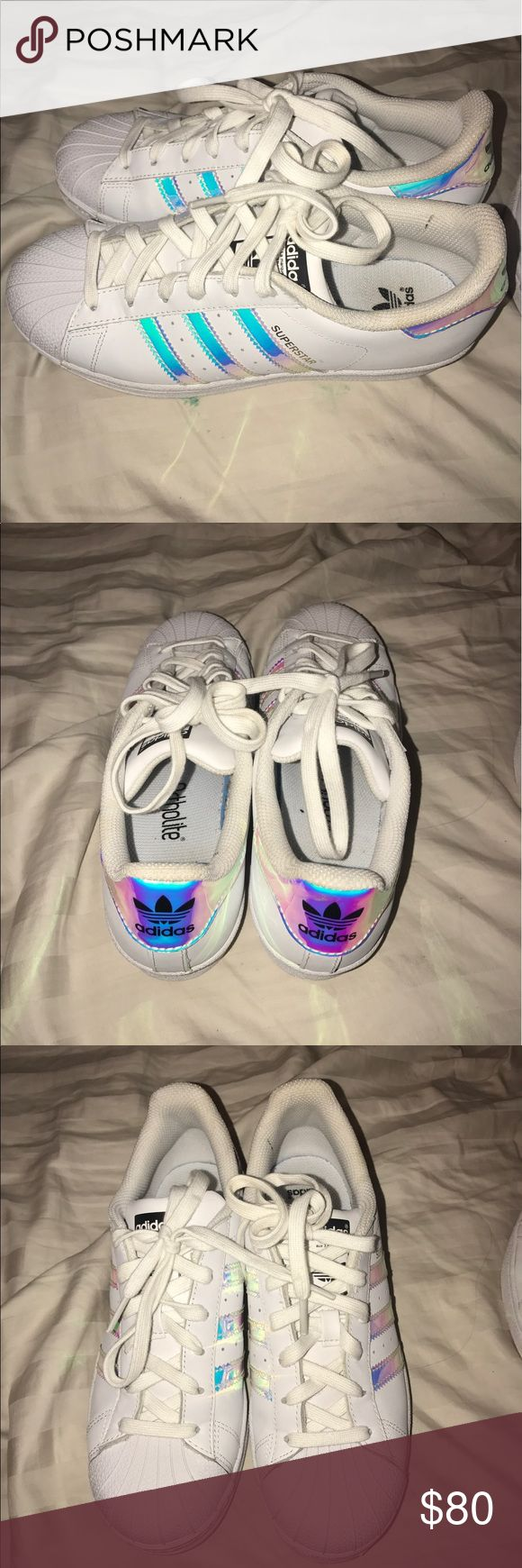 Holographic adidas superstar Selling these holographic adidas superstar's! I never wear them anymore but I know somebody else would--they're gorgeous. Barely any wear, just on the soles and that can be cleaned. These run small, US SIZE 5, but I usually wear a 6-7. MAKE AN OFFER 💗❤️❤️💗❤️❤️ adidas Shoes Sneakers